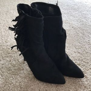Just Fab black fringe boots